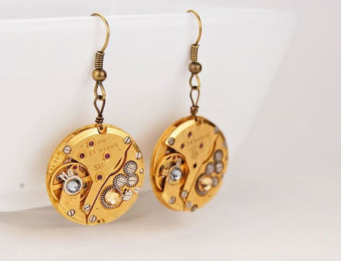 Unique Jewelry Earrings made from Clock Gears