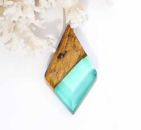 Unique Jewelry Ocean Inspired Wood and Resin Pendant