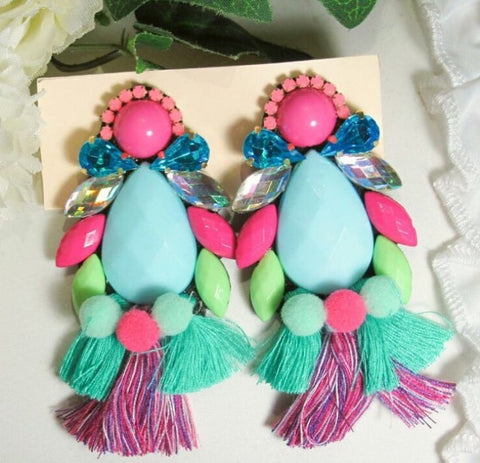 Unique Handmade Earrings in Teal with Tassels