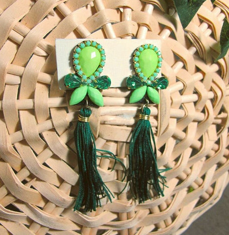 Unique Handmade Earrings in Green with Tassels
