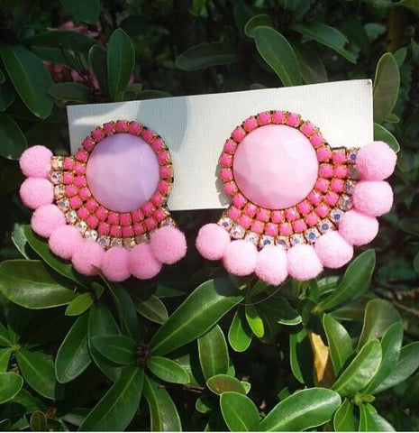 Unique Handmade Earrings Pink Rhinestones and Cotton Balls