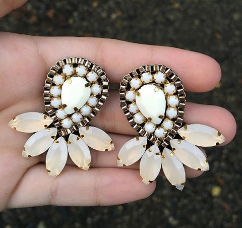 Unique Handmade Earrings White Teardrops
