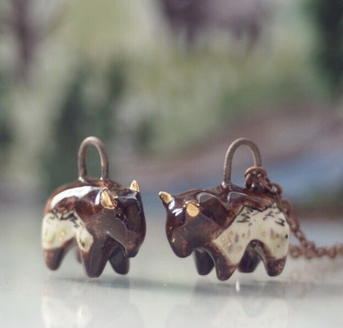 Unique Jewelry Ceramic Bison Pendant