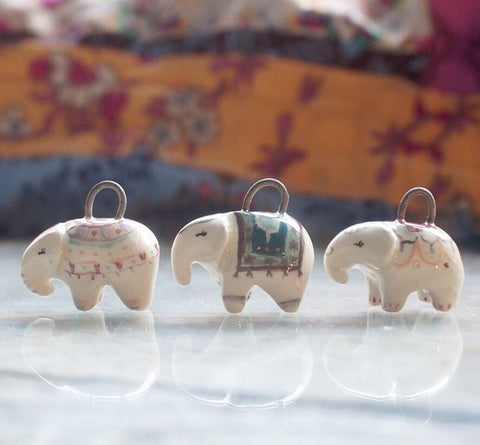 Unique Jewelry Ceramic Elephant Pendant