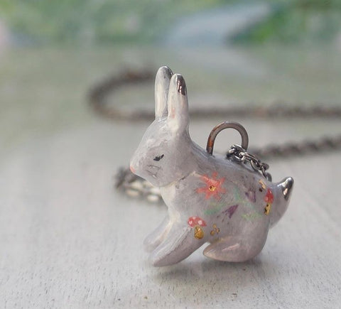 Unique Jewelry Ceramic Rabbit Pendant