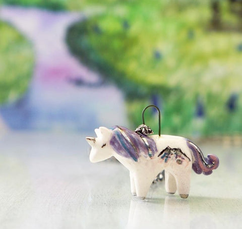 Unique Jewelry Ceramic Unicorn Pendant