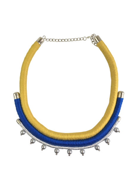 Yellow and Blue Layered Minimalist Statement Necklace
