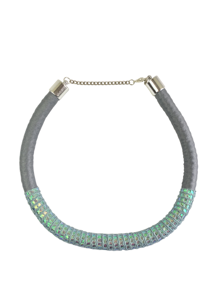 Gray and Blue Hologram Snake Pattern Minimalist Necklace
