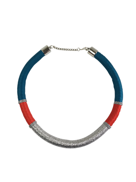 Red, Blue, and Silver Minimalist Necklace