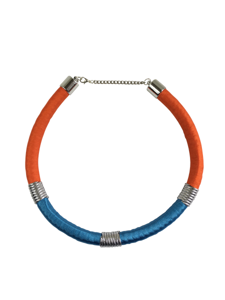 Orange and Blue Minimalist Necklace