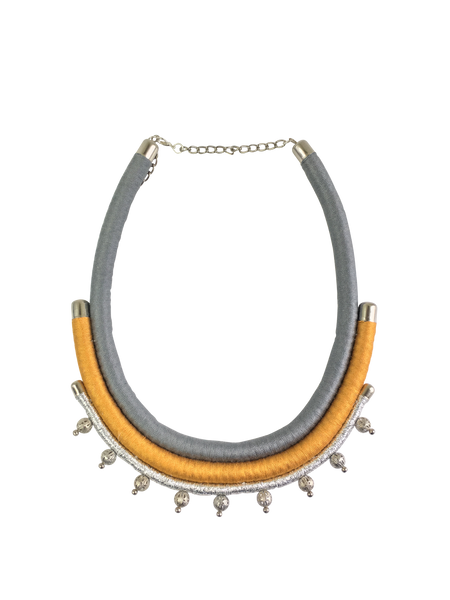 Yellow and Gray Layered Minimalist Statement Necklace