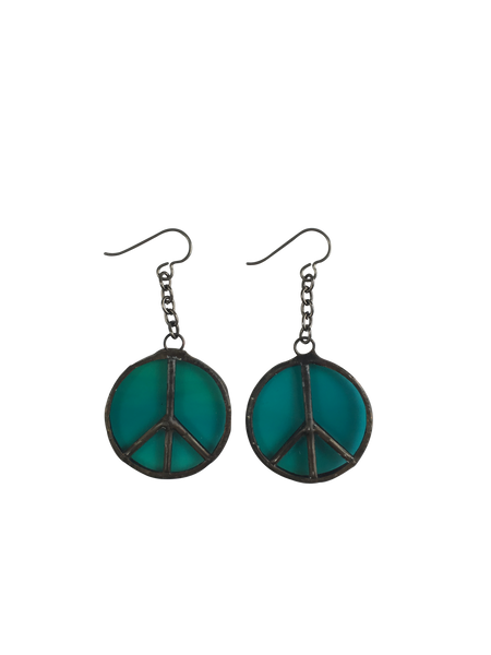 Emerald Glass Peace Sign Earrings
