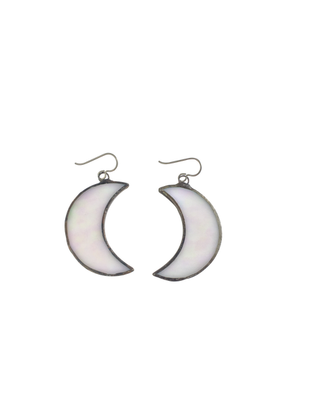 Opal Glass Crescent Moon Earrings