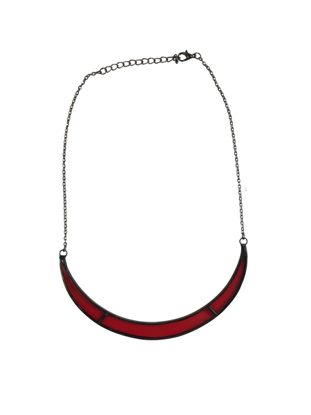 Slim Red Glass Crescent Moon Necklace