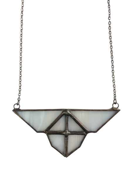 White Smokey Glass Triangle Pendant Necklace