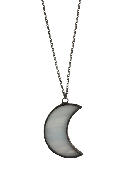 White Glass Small Crescent Moon Necklace