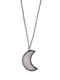 Small Opal Glass Crescent Moon Necklace