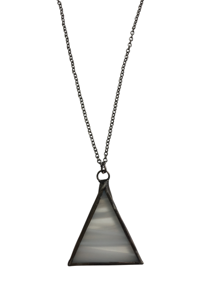 Mini White Glass Triangle Necklace