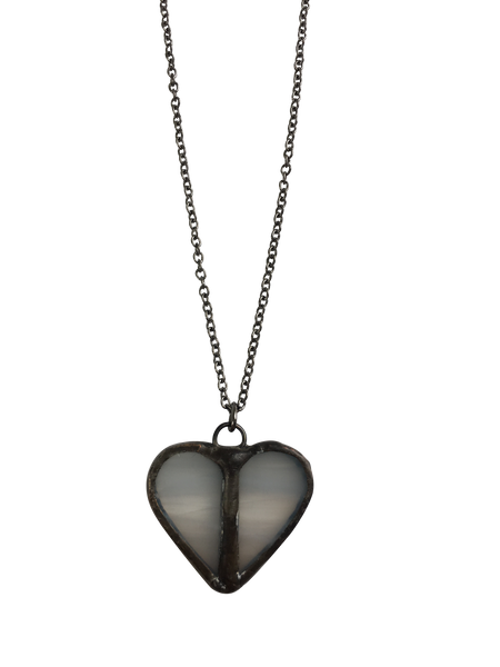 Mini White Glass Heart Necklace