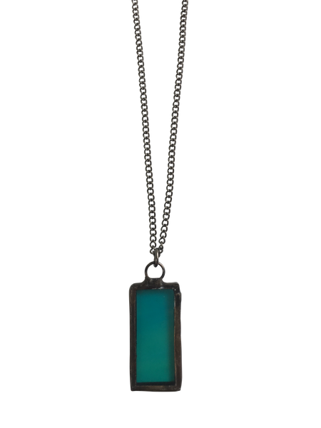 Mini Emerald Glass Rectangle Necklace