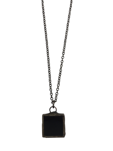 Mini Black Glass Square Necklace