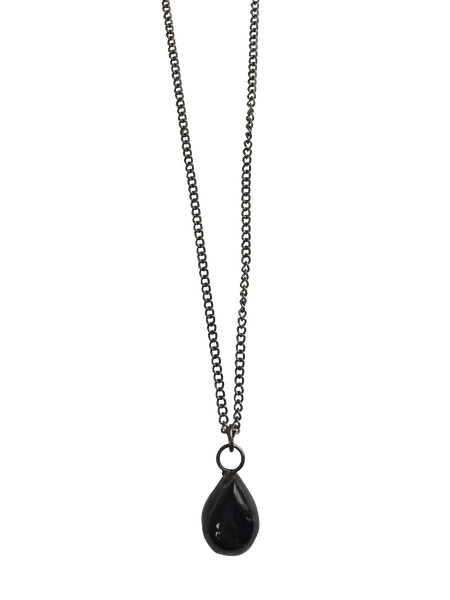 Mini Black Glass Teardrop Necklace