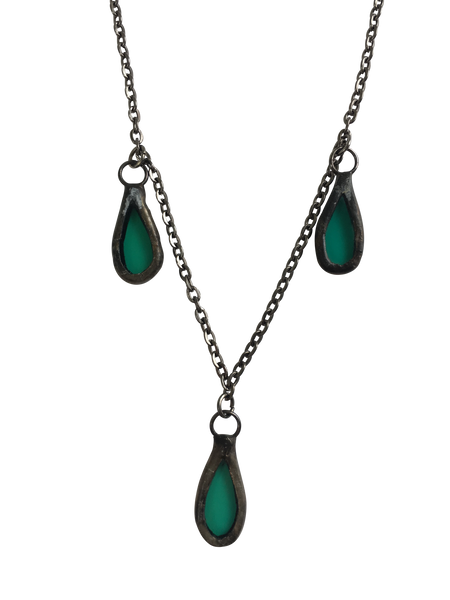 3 Mini Emerald Glass Teardrop Necklace