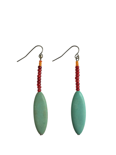 Oval Turquoise Magnesite and Czech Glass Earrings