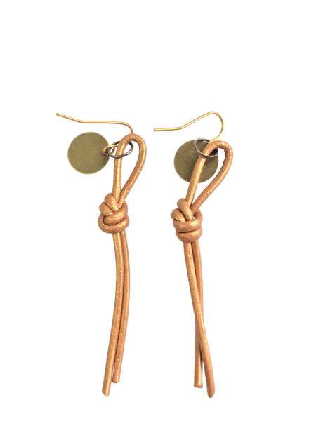 Recycled Leather Rope Earrings