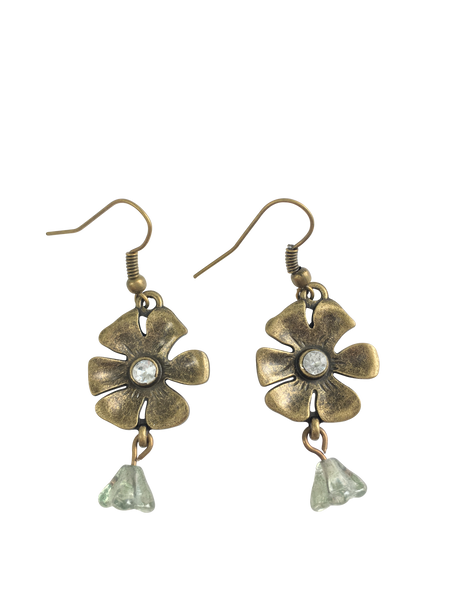 Brass Daisy and Rhinestones Earrings