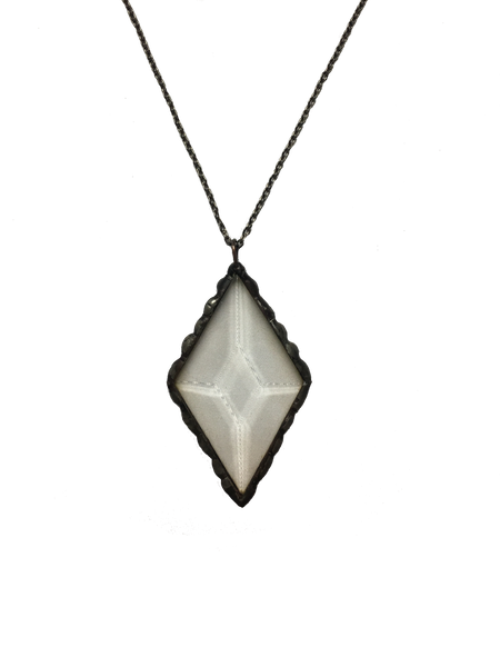 Clear Glass Diamond Pendant Necklace