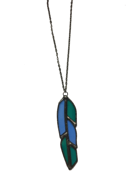 Blue Glass Feather Pendant Necklace