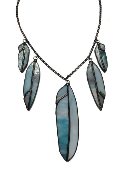 Blue Glass 5 Feather Statement Necklace