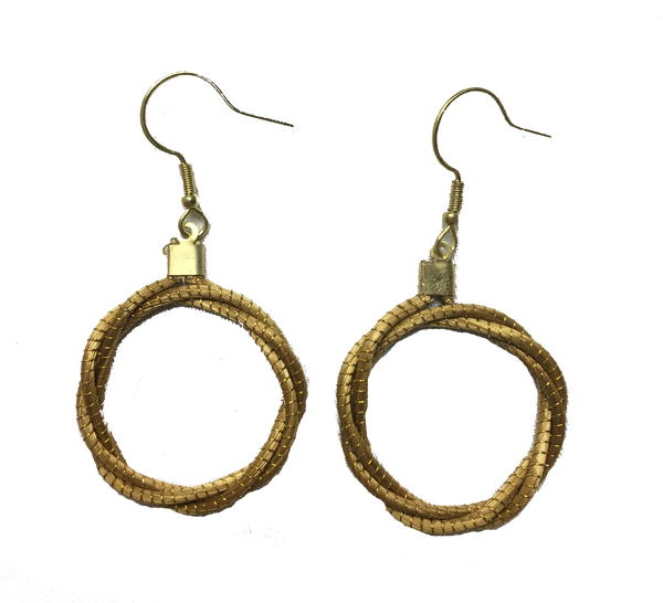 Golden Grass Circle Torcido Earrings