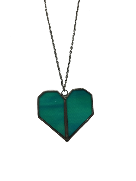 Emerald Glass Heart Pendant Necklace
