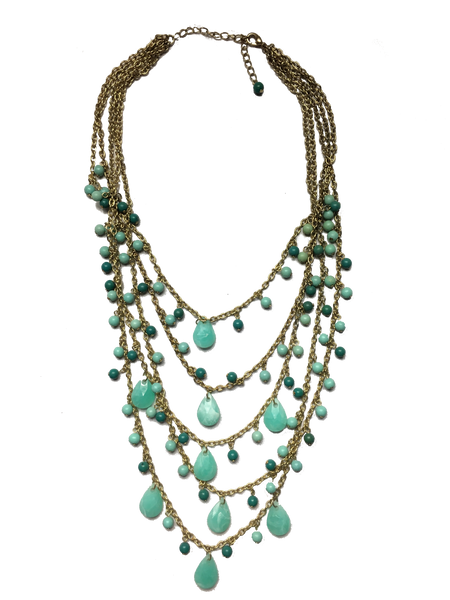 Multi Strand Turquoise Beaded Statement Necklace