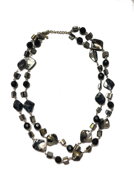 Handmade Dark Mother of Pearl Necklace and Bracelet Set