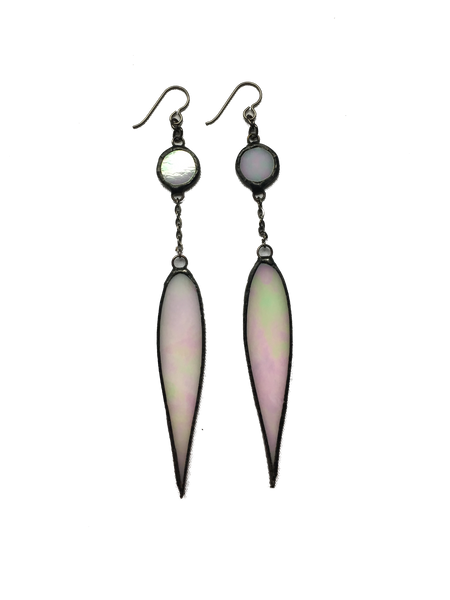 Opal Glass Teardrop Earrings
