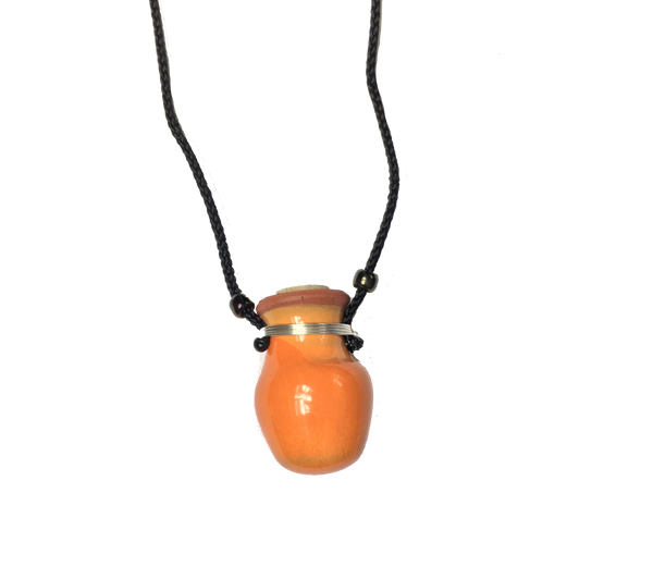 Orange Ceramic Mini Pot Necklace