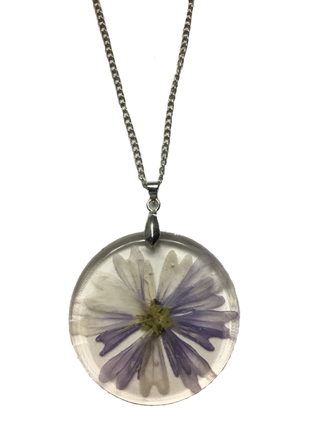 Real Violet Flower Resin Pendant Necklace