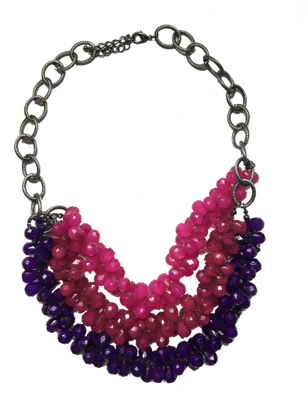 Trendy Layered Purple and Pink Teardrop Beaded Statement Bib Necklace