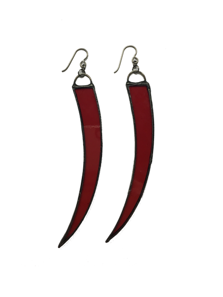 Red Glass Tusk Earrings