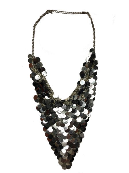 Chain Mail and Gray Sequin Statement Bib Necklace