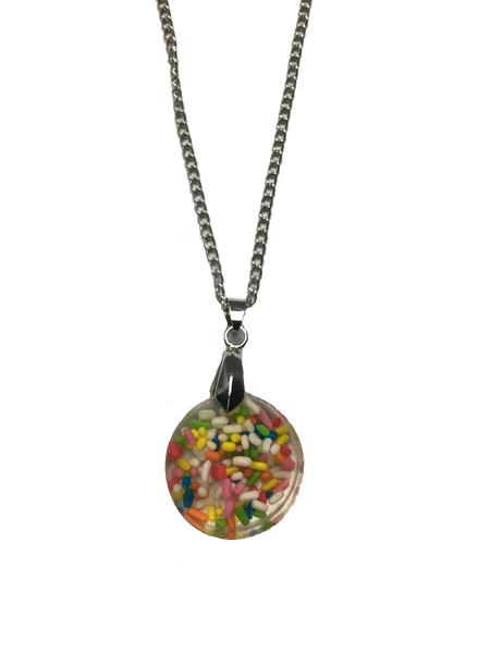 Cupcake Sprinkles Resin Pendant Necklace