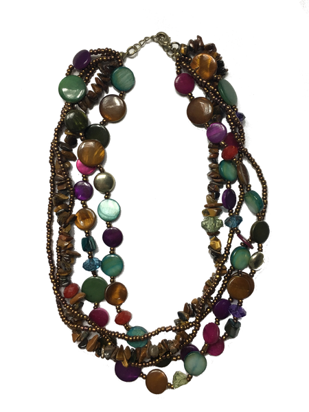 Multi Strand Tiger's Eye Beaded Necklace