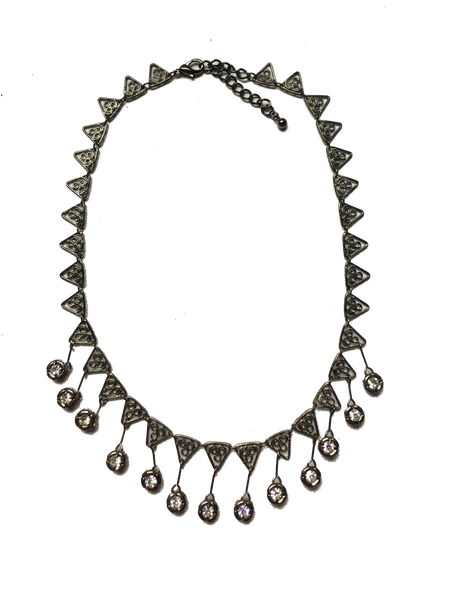 Gunmetal Triangle Filigree Necklace with Rhinestone Drop Accents