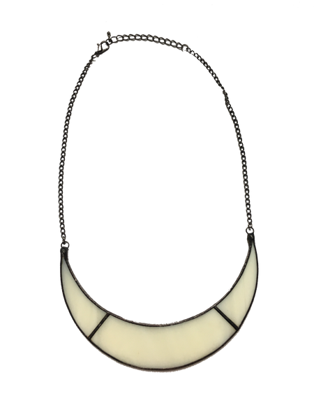 White Glass Cresent Moon Necklace