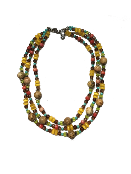 3 Strand Layered Turquoise, Multi Color Glass, and Wood Beaded Necklace