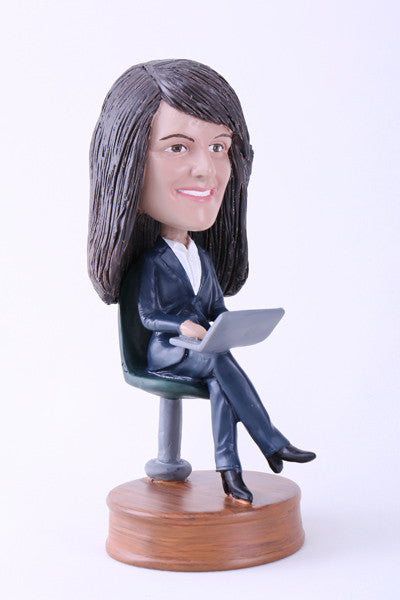 Woman Using Laptop Bobblehead