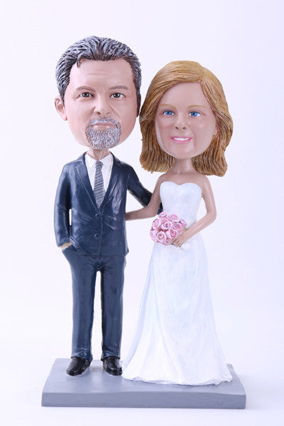 "Wedding Couple 2 (Bride and Groom) Bobblehead (9"" Tall)"